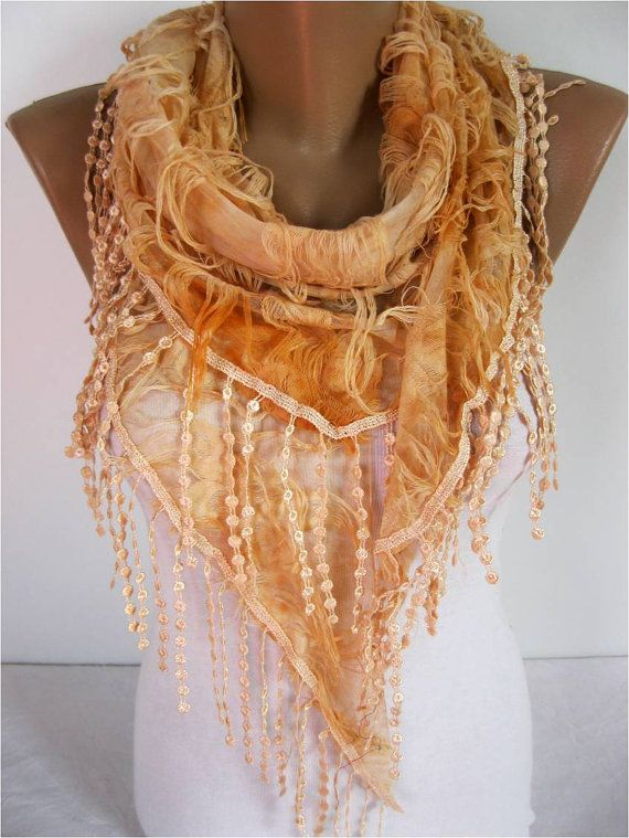 Elegant  Orange  Scarf  Cowl with Lace Edge gift by MebaDesign