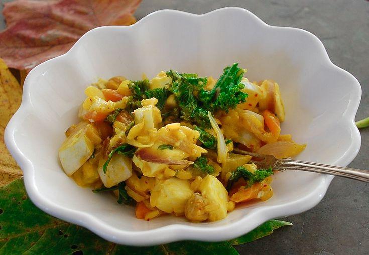 Varm kikärtsröra med grönkål, saffran och cayenne - Saltå Kvarn