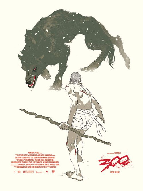 300 poster. By Tomer Hanuka done in a very manga style. I feel like this could be the cover to the comic book re-imagining of the original graphic novel.