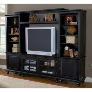 4-Piece Black Entertainment Center | Nebraska Furniture Mart
