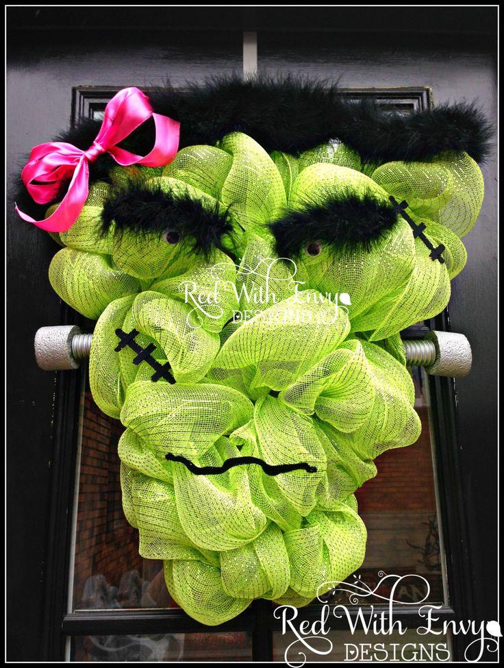 Mrs. Frankenstein Wreath, Frankenstein, Large Halloween Wreath, Halloween Wreath, Deco Mesh Wreath, Wreath,Pumpkin, Pumpkin Wreath by RedWithEnvyDesigns on Etsy