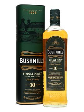 Bushmills 10 Year Old $38.68  The benchmark Irish single malt, this has a far greater depth of flavour than standard Irish blends. Winner of the 'Best Irish Single Malt Whiskey in the World' at last year's World Whiskies Awards.