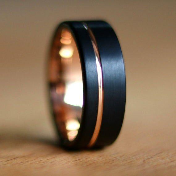 Black Gold Ring Gold Wedding Band Gold Men S Ring Etsy In 2020 Black Gold Ring Rose Gold Wedding Bands Mens Gold Wedding Band