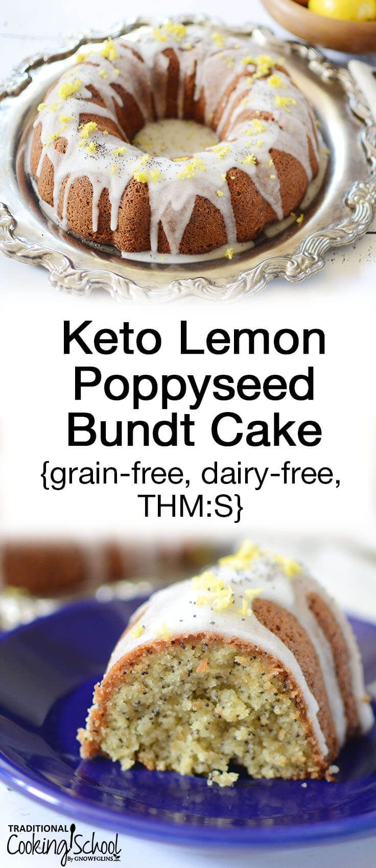 Lemon poppyseed anything is my favorite... even over chocolate. Yet, if you're on a healing diet or trying to lose weight, the usual lemon poppyseed desserts are off-limits. Not this one! Dairy-free, grain-free, and sugar-free, this Keto Lemon Poppyseed Bundt Cake is perfect for low-carb lifestyles or Trim Healthy Mamas looking for S desserts! #tradcookschool #ketodessert #ketolemonpoppyseedcake #trimhealthymama #sweetwithoutsugar