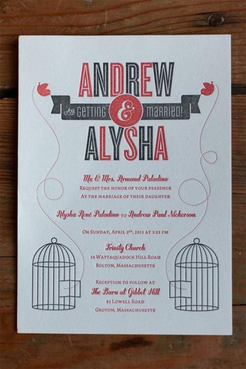 97 best wedding invites images on pinterest weddings invites andrew alyshas mid century modern birdcage invitations stopboris Gallery