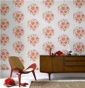 Momento - Orange & Pink    Wallpaper 52cm x 10m per roll    Paste the wall.  Please make sure you follow manufactures instructions when hanging wallpaper