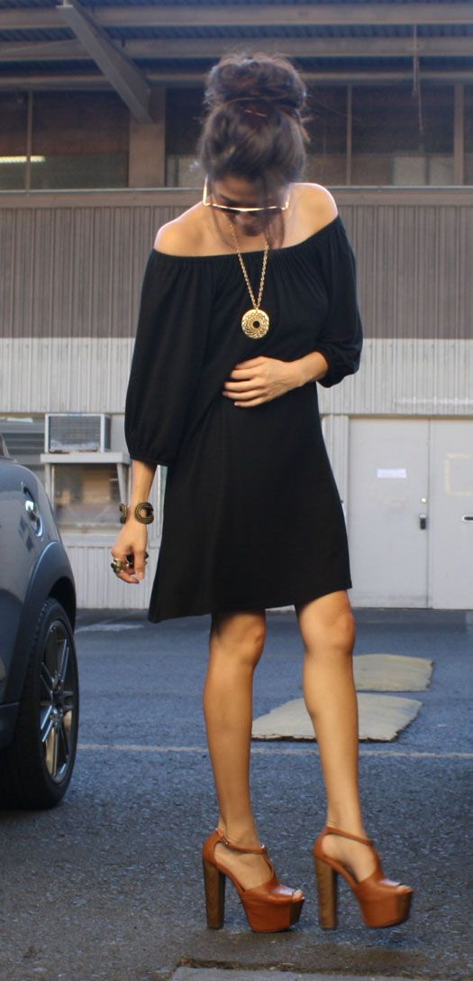 Black off the shoulder shift dress & jessica simpson dany platform heels!