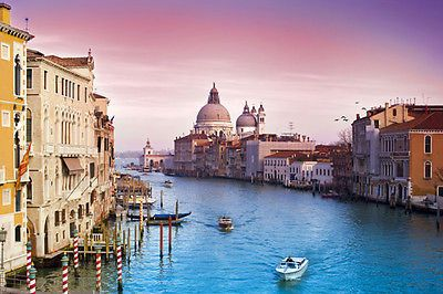 NATURE POSTER VENI VIDI VENICE gorgeous colors waterway buildings 24X36