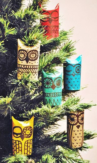 Eco-friendly owl Christmas decorations made from recycled TP tubes. :D