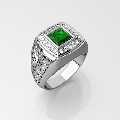 GOLD Art. 3D STORE: Mens ring with square gemstone