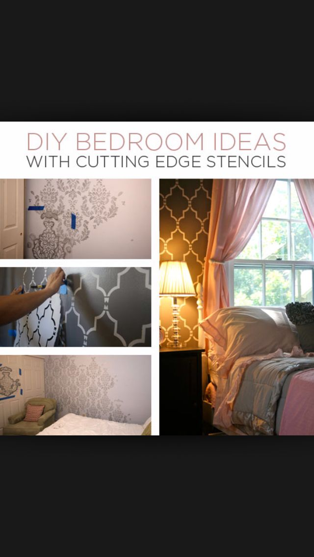 DIY bedroom wall pattern with stencils