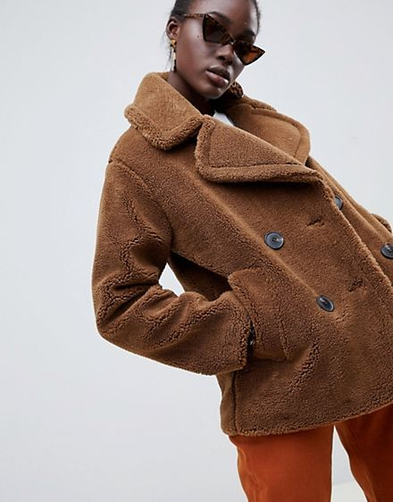 76fe2f139d Warehouse double breasted teddy coat in tobacco | Treat yo Self if ...
