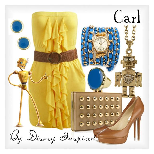 """Carl - from Disney's Meet the Robinsons"" by elliekayba ❤ liked on Polyvore featuring Arden B., Miso, Jenny Bird, Elie Saab, Jimmy Choo, Disney and Sara Designs"