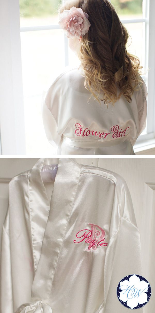 "This adorable Flower Girl Satin Bath Robe is sure to make your Flower Girl smile! She will fit right in with you and your bridesmaids with a robe that is just her size! Choose from a variety of colors. Shop today and take 10% off your order with coupon code ""lifematters"""
