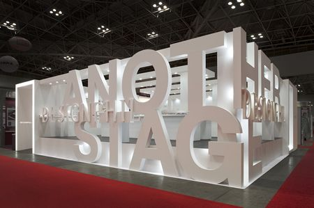 Creating stand wall boundaries from 3D lettering - great example of branding…