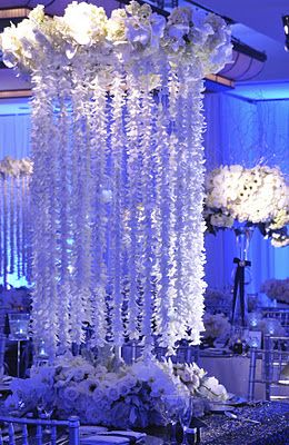 cascading flowers omg this is amazing i love it for a reception
