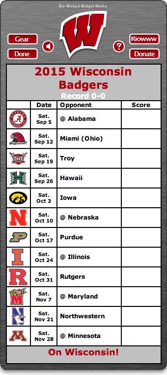 BACK OF WIDGET - Free 2015 Wisconsin Badgers Football Schedule Widget for Mac OS…