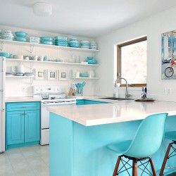 Budget-Friendly and Bold Kitchen Makeover submitted to InspirationDIY.com #kitchen #diy #aqua