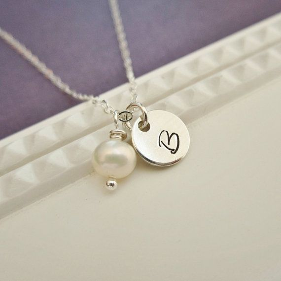 Personalized initial necklace with pearl, single initial, custom letter, sterling silver monogram necklace, freshwater pearl on Etsy, $26.00