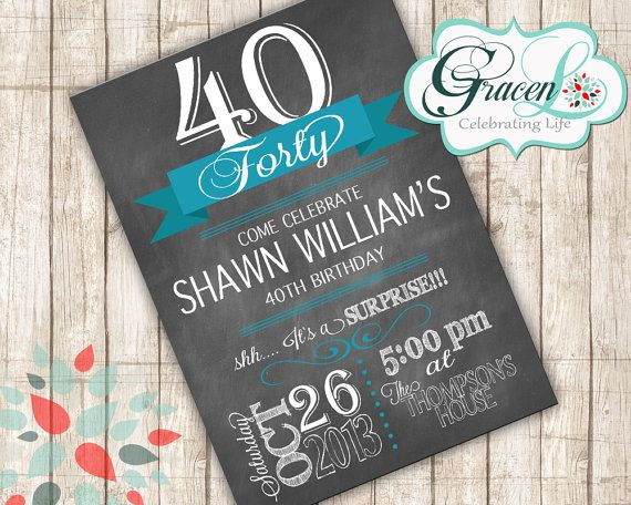 40th Birthday Invitation Surprise Party by GracenLDesigns on Etsy, $12.00