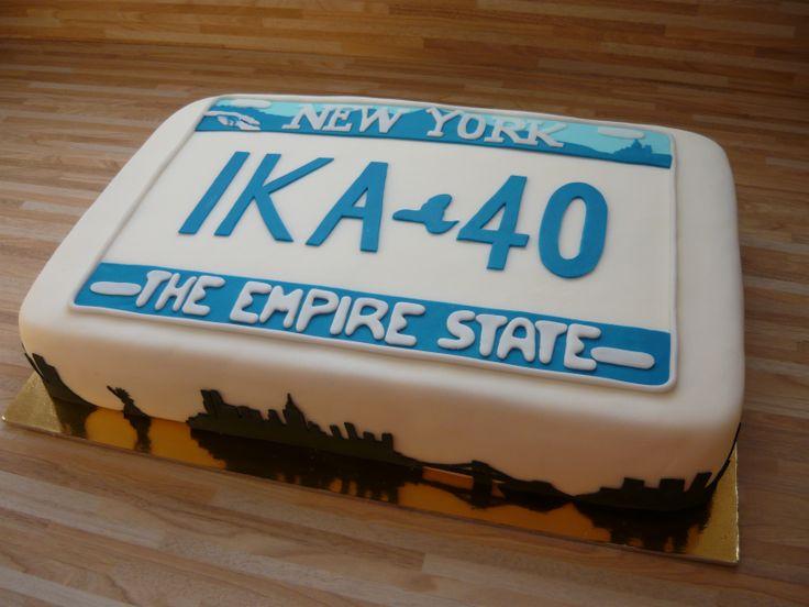 Torta New York registrska tablica / New York license plate cake