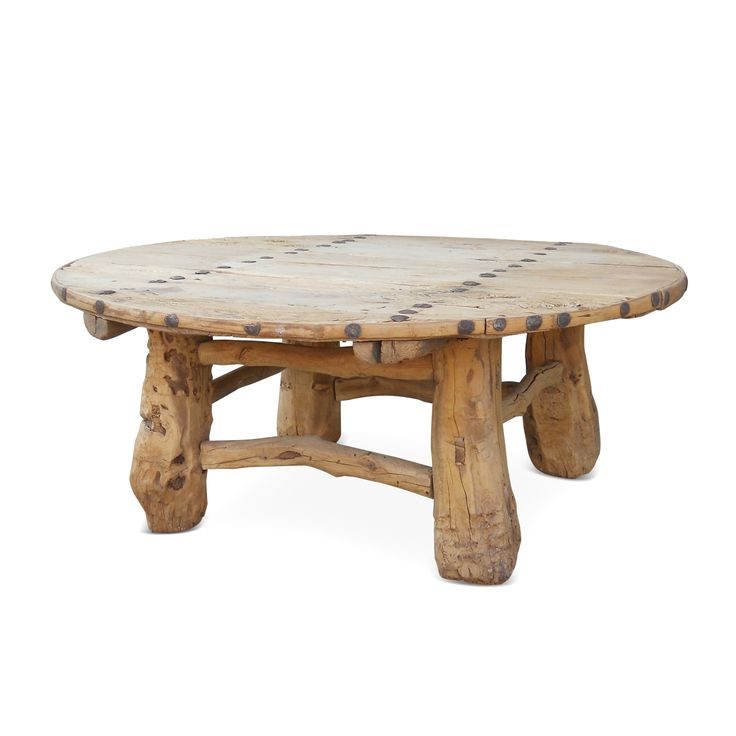 Round Wooden Coffee Table Round Wood Coffee Table With Hammered Nail Head  Detail Circle Coffee Tables