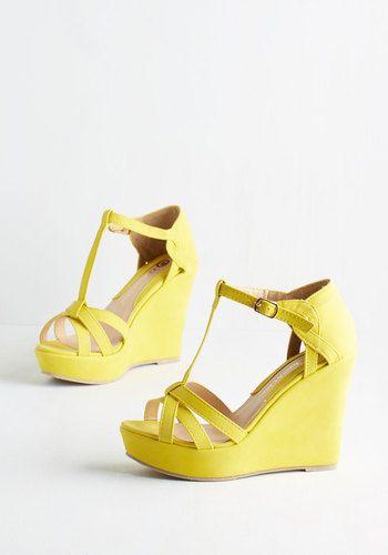 Platforms and Functions Wedge in Lemon | Mod Retro Vintage Heels | ModCloth.com