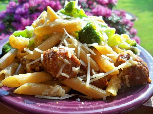 Sweet Italian Sausage With Penne Pasta from Food.com:   We are Italian and if you go through my recipes you'll find alot of wonderful, quick and easy pasta dishes.  We love our pasta and we love garlic, too!  Serve this with garlic Texas toast.  I can't eat pasta much anymore because I'm diabetic but my husband and daughter love it so I keep making it for them.  I usually eat salmon (I have one or two good ones for salmon, too- check them out).