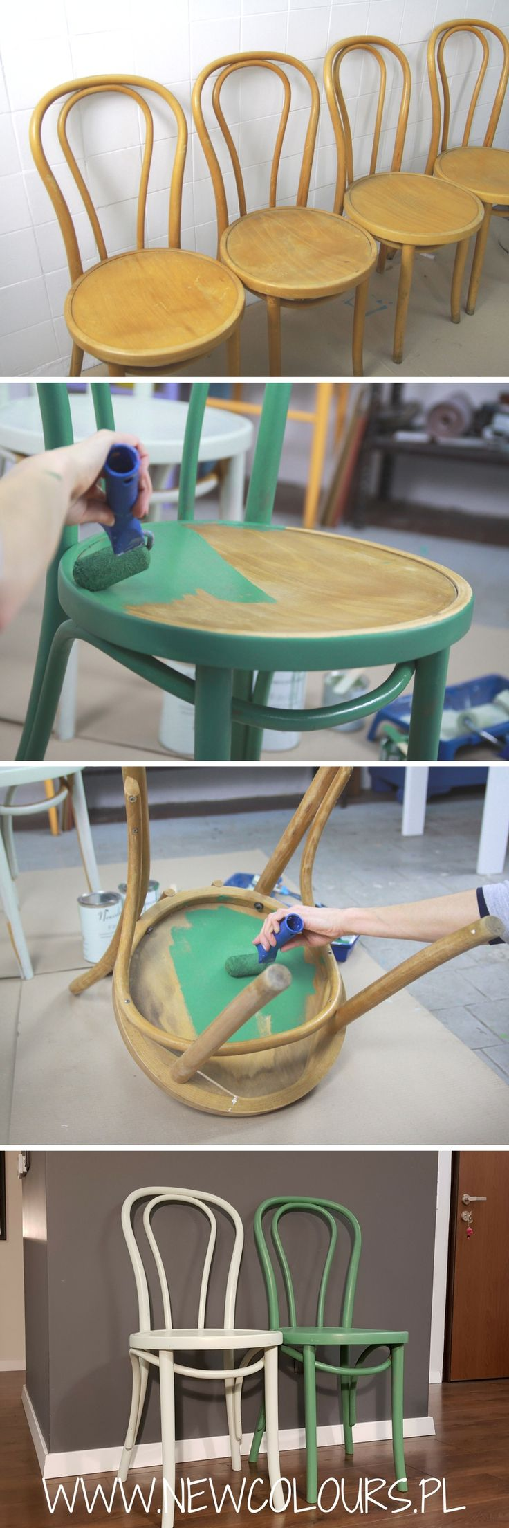 Malowanie starych krzeseł - farba Newcolours. Old chairs painted with Newcolours paints.