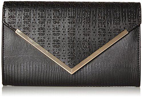 BMC Womens PU Leather Alligator Skin Pattern Glitter Metal Accent Flap Clutch