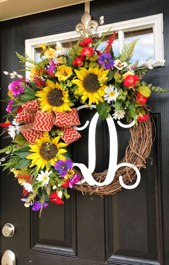 Items similar to winter personalized silk flower front for Diy summer wreath