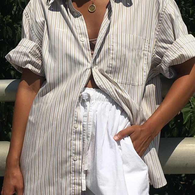 Vintage unisex ecru cream striped button up. Fits xs-l frames. Can be knotted at waist and worn off the shoulders. $38 + shipping PENDING