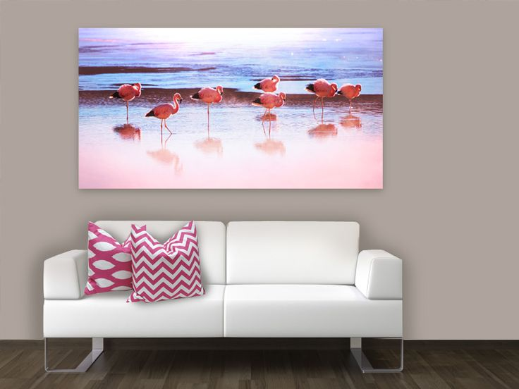 Add a pop of colour with this pink flamingo canvas...