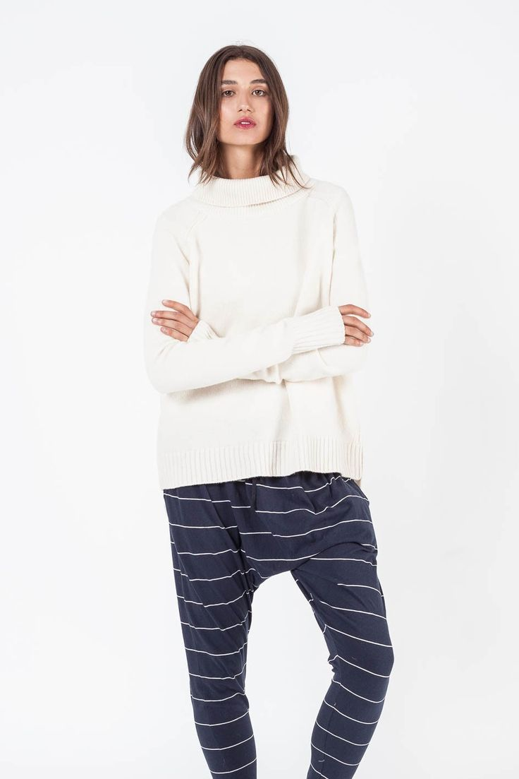 Assembly Label - Roll Neck Knit Natural White