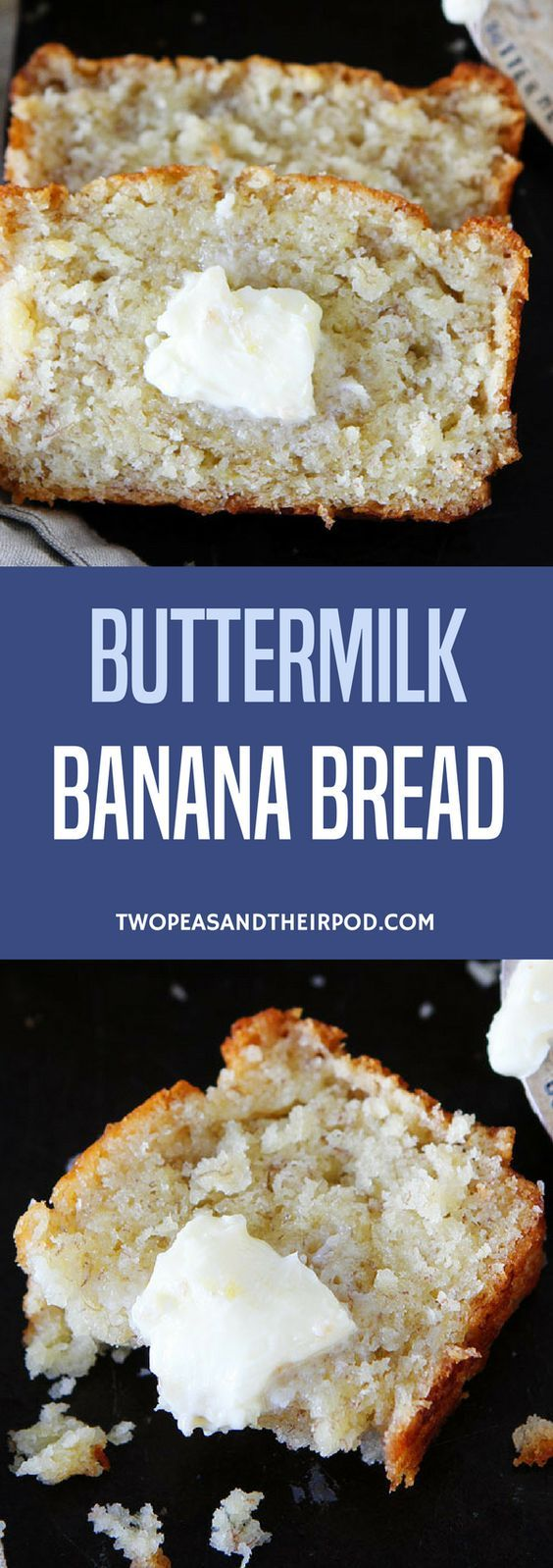 This Easy Buttermilk Banana Bread Recipe Always Gets Rave Reviews! Some Say It Is The BEST Banana Bread Recipe Out There. If You Have Brown Bananas And Buttermilk To Use Up, Make This Banana Bread. You Won't Be Disappointed. #bananabread #bananas #bread #quickbread #baking