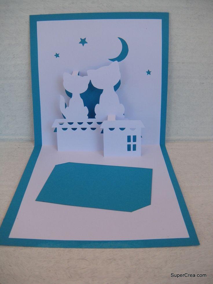 carte de voeux en kirigami, bleu chats sur les toits : Cartes par supercrea