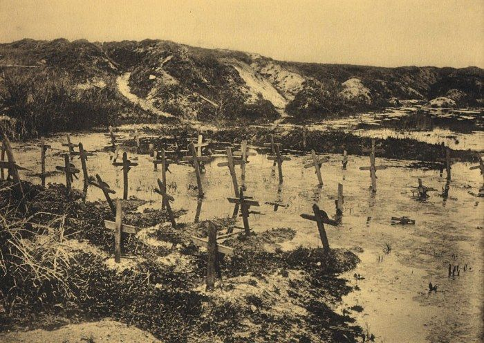 Tombes inondées, Berry-au-Bac, Aisne, Picardie, première guerre mondiale.