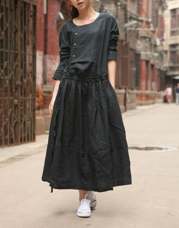 Linen Dress Gown in Black / Custom Long Bridesmaid Dress - Made to order. $78,00, via Etsy.