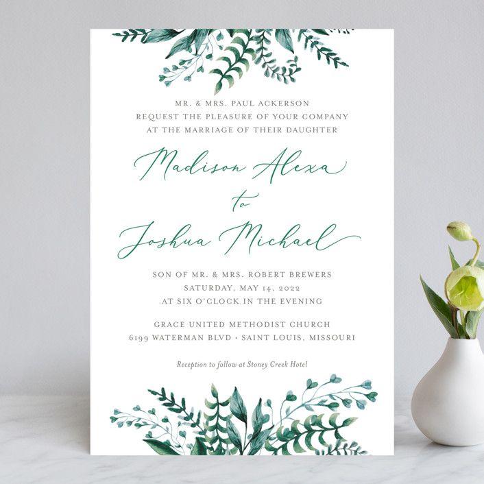 Bright Green Wedding Invitations In Sprig By Amanda Day