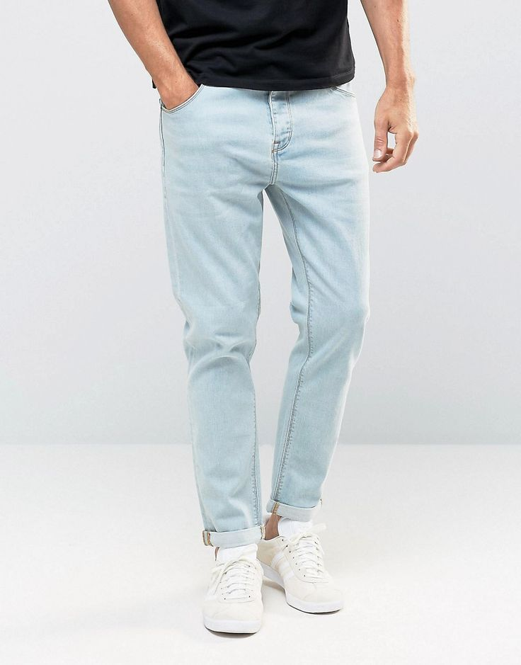 Image 1 of ASOS Relaxed Tapered Jeans In Light Blue