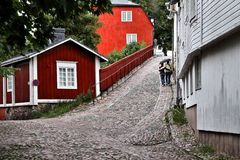 Finland: Porvoo old town Stock Image