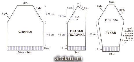Схема вязания мужской куртки с капюшоном