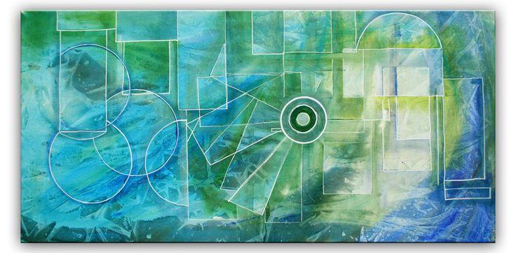 Burgstaller abstrakte Malerei Bild Gemälde blau grün mint Wandbild quer 50x100