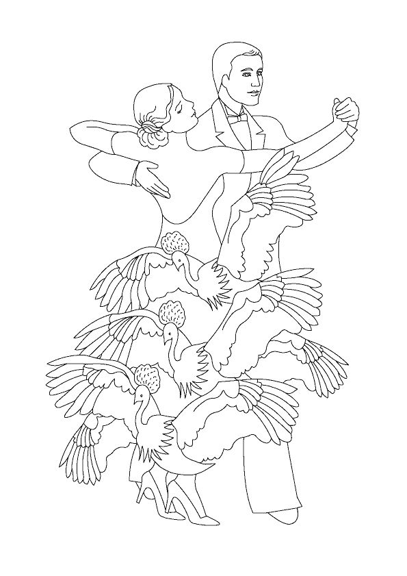 Un couple de danseur de tango se tenant les mains avec la femme habillée avec une magnifique robe décorée d'oiseaux, belle illustration à colorier