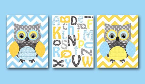 Owl decor Alphabet Nursery Baby Boy Nursery Art by artbynataera, $60.00
