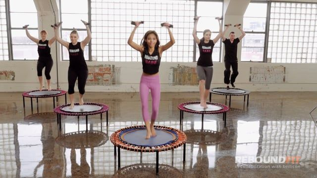 ReboundFit beginner to intermediate workout on the bellicon® mini trampoline.