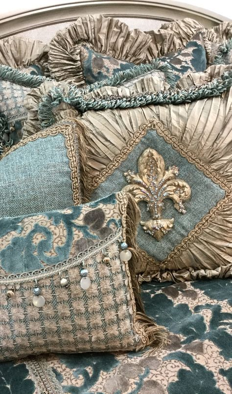 Soft Blue & Cream Chenille & Silk Luxury Bedding | https://reilly-chanceliving.com/collections/bedding/products/paradise-luxury-bedding