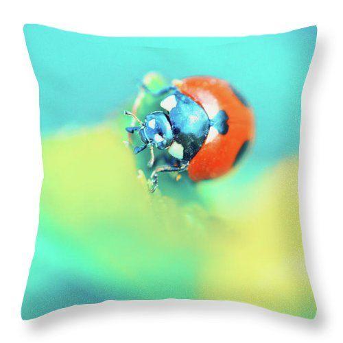 Throw Pillow featuring the photograph Ladybug In Aqua Mood by Oksana Ariskina #OksanaAriskina #Macro #Photography #Insect #Aqua #Yellow #Lemon #ladybird #ArtForHome #FineArtPrints #InteriorDesign #PrintsForSale #Summer #BuyArt