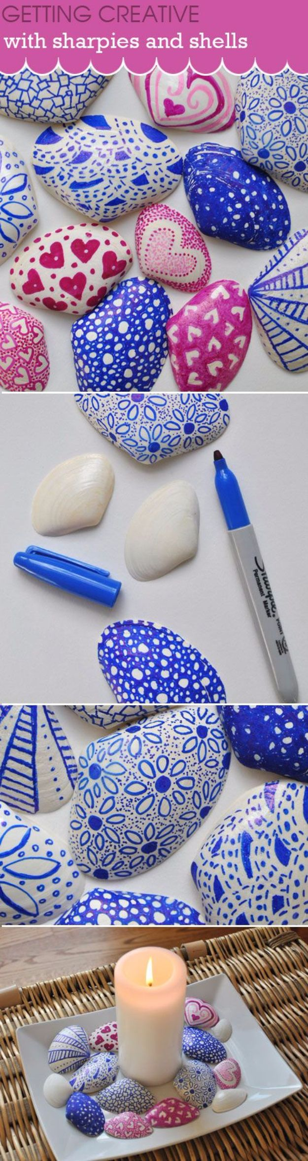DIY Sharpie Crafts - Sharpies And Shells Craft - Cool and Easy Craft Projects and DIY Ideas Using Sharpies - Use Markers To Decorate and Design Home Decor, Cool Homemade Gifts, T-Shirts, Shoes and Wall Art. Creative Project Tutorials for Teens, Kids and Adults http://diyjoy.com/diy-sharpie-crafts