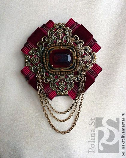 """брошь-орден """"Рубин"""" - бордовый,рубиновый,малиновый,бронза,цепочки,винтажный стиль"""